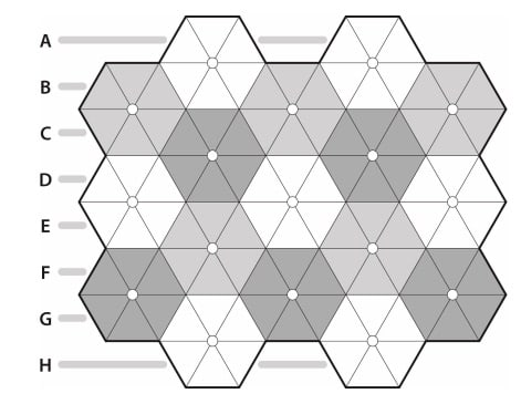 A puzzle grid of interconnected hexagons each made up from 6 triangles.
