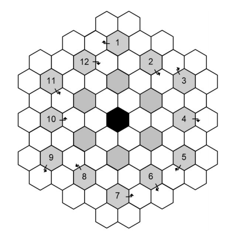 A puzzle grid of hexagons, many of them numbered.