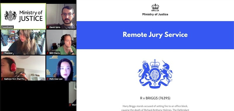 Remote Jury Service brief in the case of R v Briggs. The jurors are on Zoom.