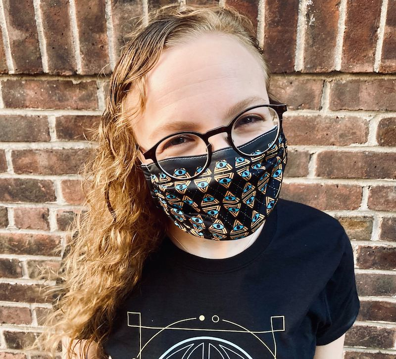 Lisa modeling the RECON Argyle mask.