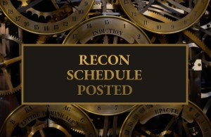 "Reads: ""RECON Schedule posted"" the background is an intricate brass clockwork mechanism."