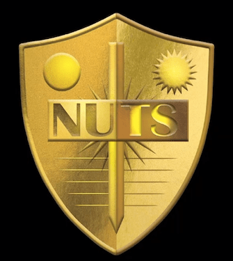"The shield for an organization called, ""NUTS"""
