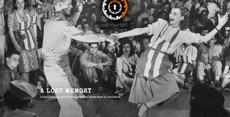 An image from WWII of a man and woman swing dancing in front of a large audience.