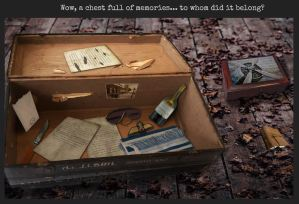 An old box filled with assorted objects and letters from the War.