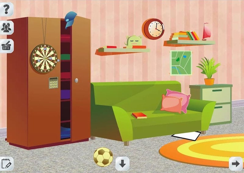 A cartoonish looking digital escape room set in a living room with toys and books strewn about.