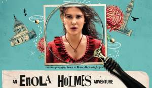 An Enola Holmes Adventure depicting the main character behind a magnifying glass.