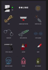 An online inventory of assorted weapons including a knife, poison, and a pistol.