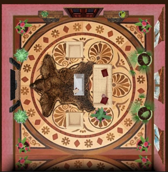 Overhead view of a study with a large bear skin rug.