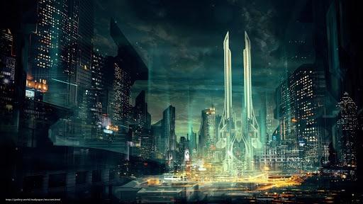 A futuristic skyline.