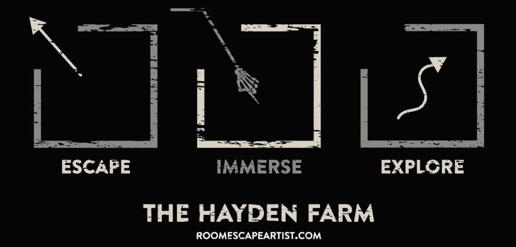 Escape Immerse Explore 2020 The Hayden Farm features a creepy black, white, and grey aesthetic.