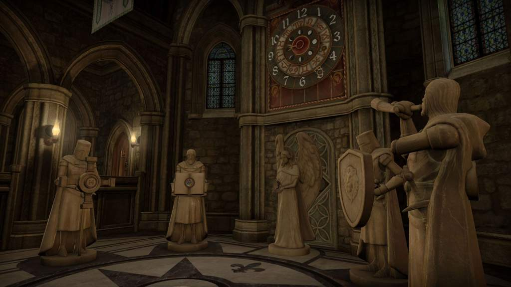VR: a room in an imposing chapel with a large clock and several medival statues.