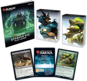 Two magic starter decks and a play guide.