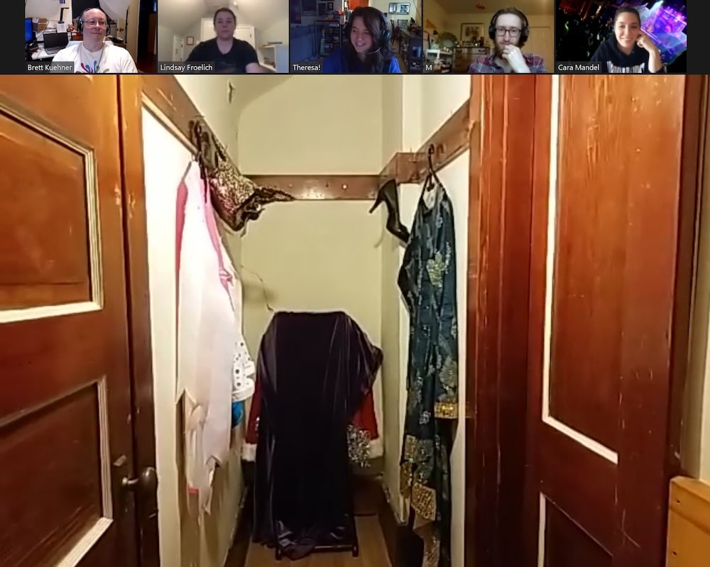 A changing room played over Zoom.