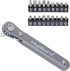 A right angle ratcheting screwdriver with 18 different bits of various types and sizes.