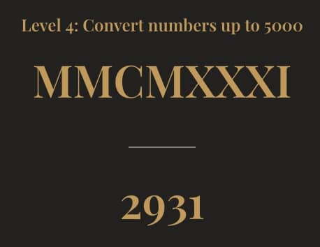 Level 4 Convert MMCMXXXI to 2931.