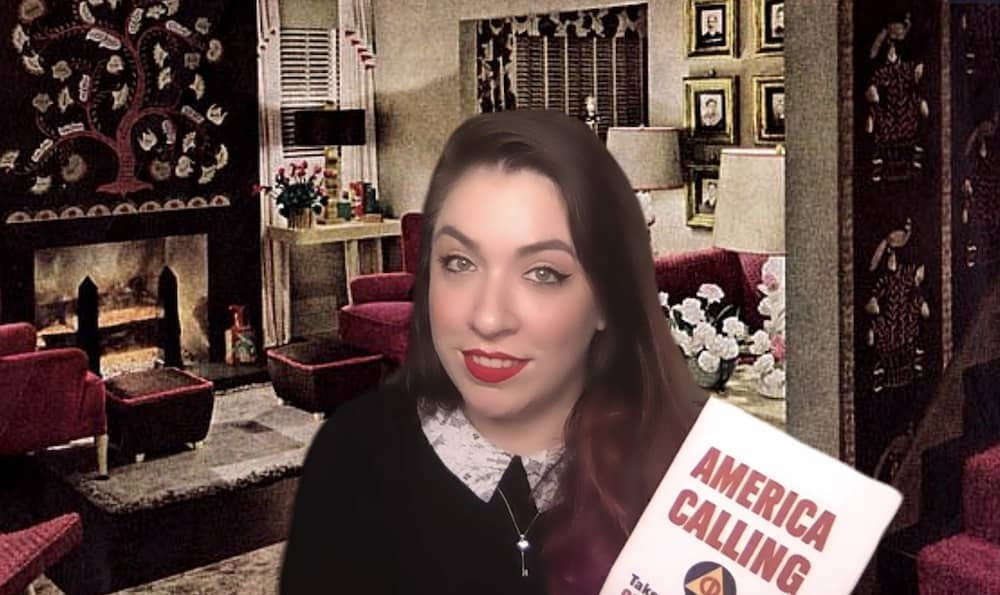 Cara in period garb with her America Calling Pamphlet.