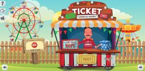 An illustration of a ticket booth at a carnival. Rides are in the background.