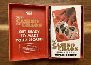 Escape From the Casino of Chaos box opened, instructions on display.
