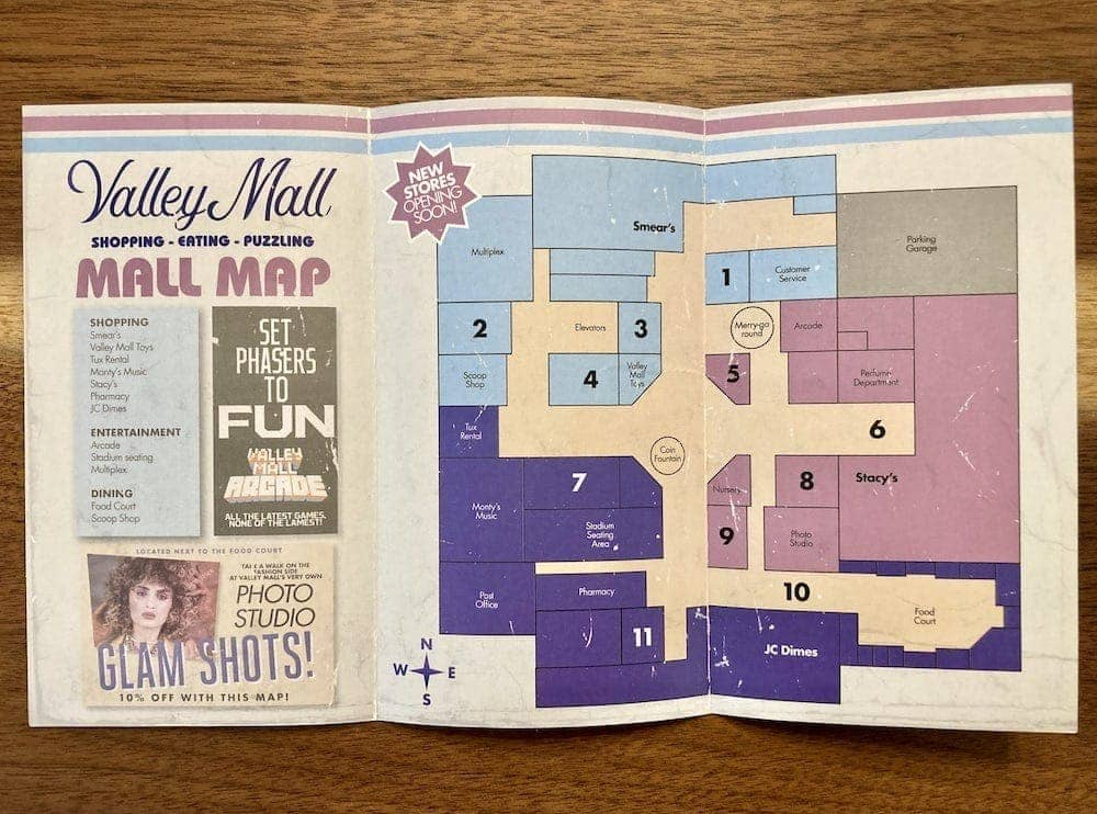 The mall map open.