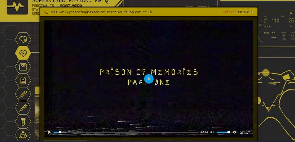 "Digital interface with a video labeled, ""Prison of memories part 1"""