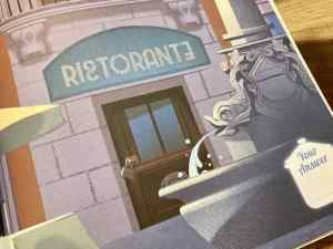Illustration of a locked Italian restaurant.