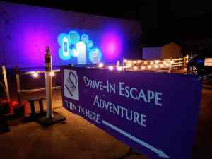 Entry banner for the drive-in escape adventure.