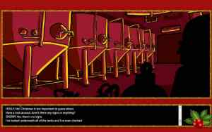 A red christmasty interface with an illustrated image of many red stills.