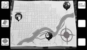 """Black & white digital interface depicts a city mapy with places of interest that include, """"Office,"""" """"Crime Scene,"""" & """"Payphone."""""""