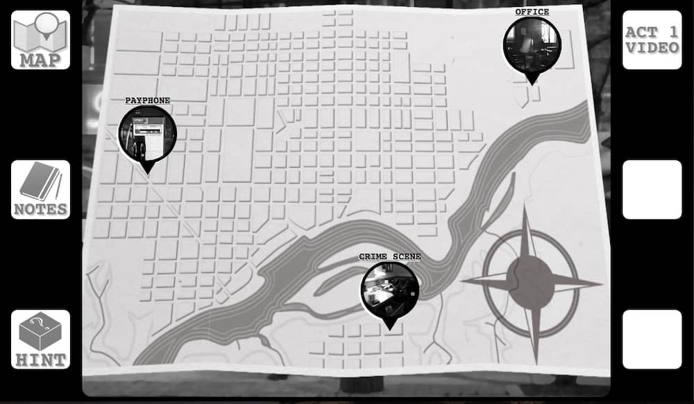 "Black & white digital interface depicts a city mapy with places of interest that include, ""Office,"" ""Crime Scene,"" & ""Payphone."""