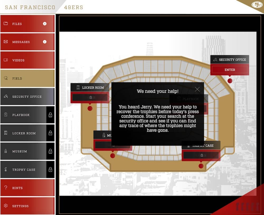 Point & click interface for 49ers Unlocked. It is in red, gold, white, and black and depicts the team's stadium.