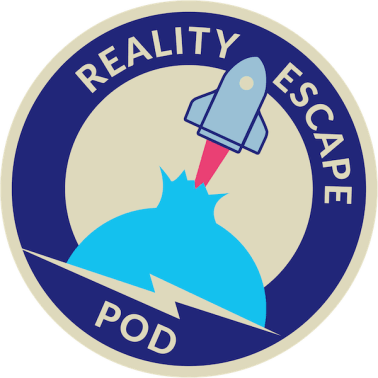 Reality Escape Pod mission patch logo depicts a spaceship puncturing through the walls of reality.