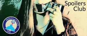 """Image of a person taping their own mouth, labeled """"Spoilers Club."""""""