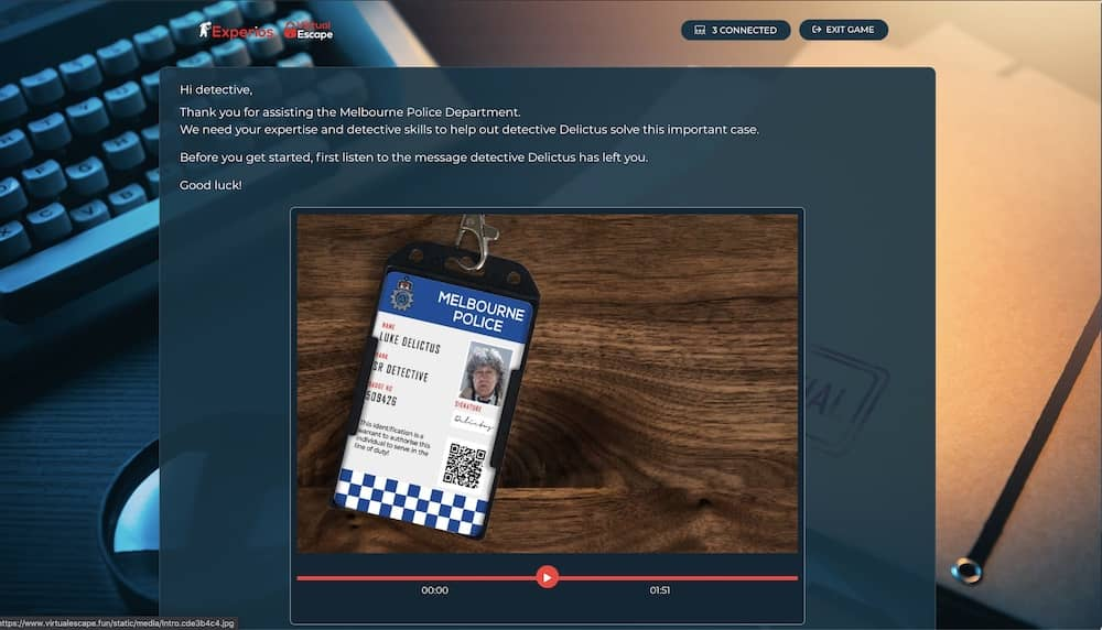 Web page with an introductory ltter and video to Melbourne police regarding an important case.