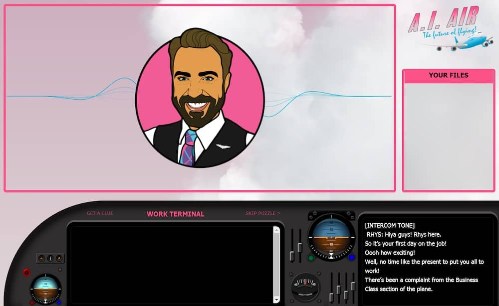 A bright pink interface for A.I. Air along with a airplane's console. An illustrated character named Rhys is on the screen.