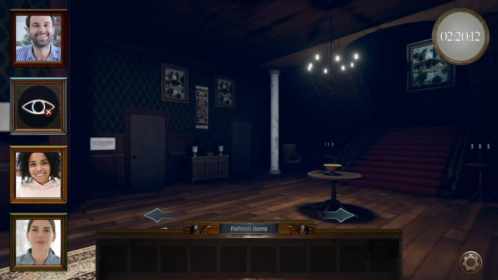 In-game, 3d rendering of a large foyer in a creepy mansion.
