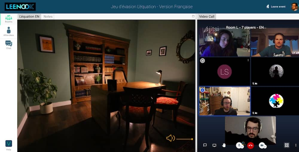 Leenook interface with built-in video chat and 360 photo of an office.