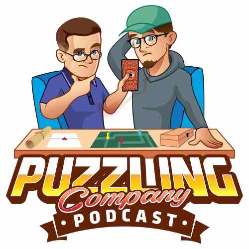 Illustrated Puzzling Company Podcast logo depicts two guys playing a tabletop escape game.