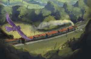 Illustration of a cartoon train with arms on a track. A bird flies overhead.