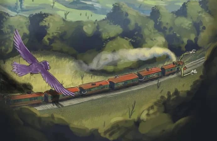 Illustration of a cartoon train with arms on a track. A bird flies overhead.
