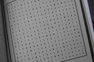 Close-up of a word search.