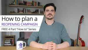 """Photo of the course creator Zoli, text reads, """"How to plan a reopening campaign. Free 4 part 'how to' Series."""""""
