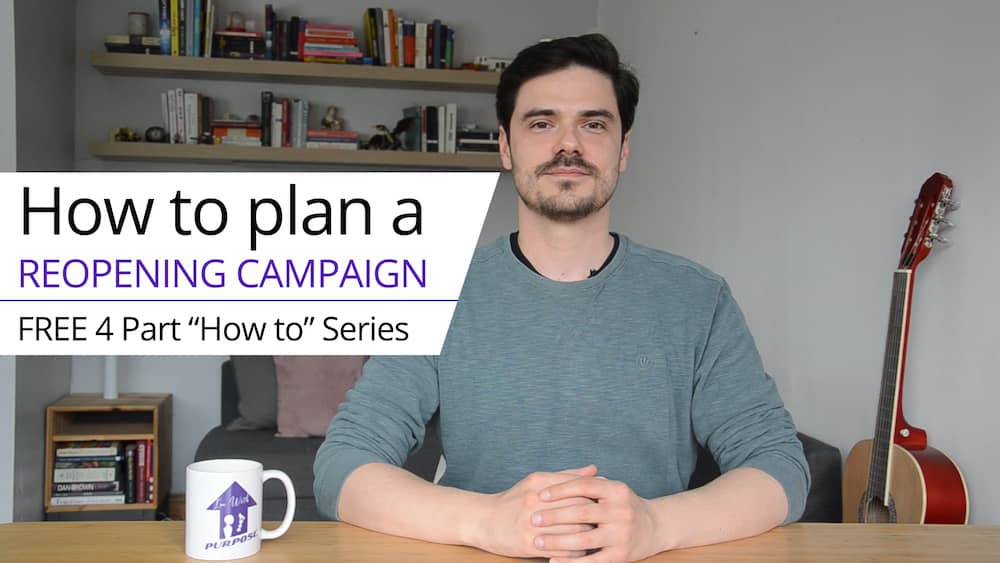 "Photo of the course creator Zoli, text reads, ""How to plan a reopening campaign. Free 4 part 'how to' Series."""