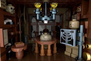 Closeup of a room with an assortment of machines and curiosities.