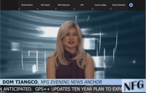 A news anchor on a broadcast for NFG.