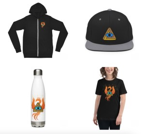 Lockup of 4 pieces of RECON swag, a hoodie, a baseball cap, a water bottle, and a t-shirt.
