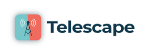 logo for telescape, a tower antenna on a greenish blue and orange square