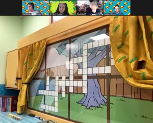 Zoom view of a crossword puzzle on an animated window.