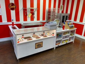 A checkout counter in a candy shop.