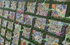 Closeup of Trapped in a Jigsaw assembled, it looks like a fantastical garden maze.
