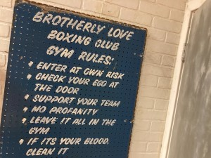 """Brotherly Love Boxing Club Rules include, """"No Profanity"""" and """"If it's your blood, clean it."""""""